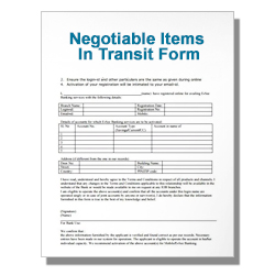 Negotiable Items In Transit Form