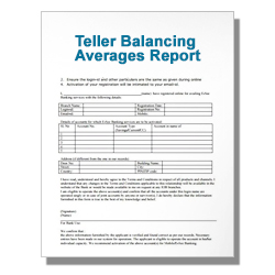 Teller Balancing Averages Report