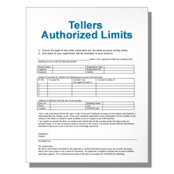 Tellers Authorized Limits