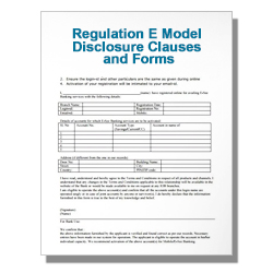 Regulation E Model Disclosure Clauses and Forms