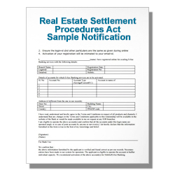 Real Estate Settlement Procedures Act Sample Notification Form