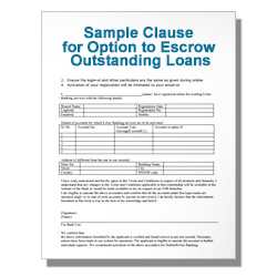 Sample Clause for Option to Escrow Outstanding Loans