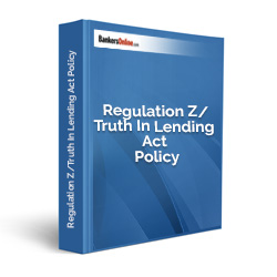 Regulation Z/Truth In Lending Act Policy